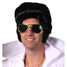 50's Rocker Wig with Sideburns Black Fancy Dress Costume Wig