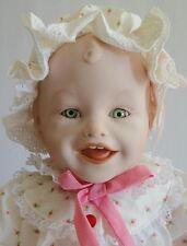 Sarah Porcelain Doll Pink Pj's Bunny Slippers Yolanda Bello Knowles Vintage 1987