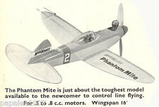 "Model Airplane Plans (UC): KeilKraft Phantom Mite 16"" Sport for .5-.8cc (.049ci)"