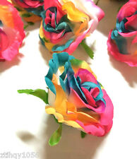 "Pretty Artificial Flower Rainbow Rose Flower for Wedding Party Decor dia 3.54"""