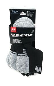 Under Armour UA Heatgear Lo Cut Socks 3 Pairs Youth Womens Small Black Cushion