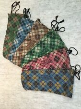6 pairs Mark Cross shoe dust covers plaid woven material draw string protect