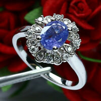NATURAL 6 X 8 mm. OVAL TANZANITE & WHITE CZ RING 925 STERLING SILVER SZ 8