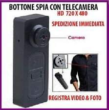 BOTTONE CON MICROCAMERA SPIA CIMICE AUDIO E VIDEO FOTO NASCOSTA MICRO CAMERA
