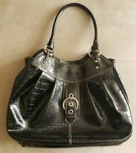 """Nine West Bag - Black Faux Leather with Silver Metal Rings and Buckle 17x12"""""""