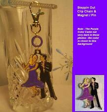 """Unique Ballroom Dance Gifts/ Clip Chain & Magnet  """"Steppin Out""""-Purple & Black"""