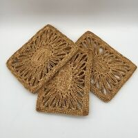 SET OF 3 VINTAGE NATURAL WOVEN TRIVETS RECTANGULAR 6 X 8 MID CENTURY KITCHEN EUC