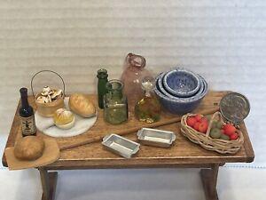 Vintage Artisan Food Dishes Glass Jars Bread & More Dollhouse Miniature 1:12