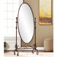 Oval Cheval Antique Bronze Metal Floor Mirror Full Length Master Bedroom Mirror