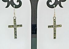 "Faceted Pyramid Cut Swiss Marcasite Cross Earrings 925 Sterling Silver 1.5"" Drop"