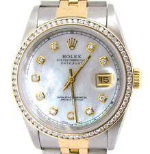 Mens Rolex 2Tone 18k Gold/Steel Datejust w/MOP Diamond Dial & 1.3ct Bezel 16233