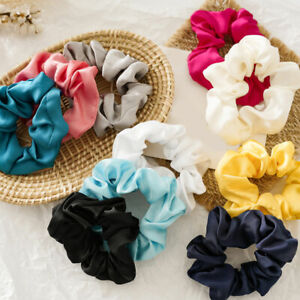 Candy Color Glossy Satin Scrunchies All-matched Large Intestine Circle Rope Ring