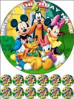 "EDIBLE MICKEY/MINNIE MOUSE ROUND 7,5""& 12 CUPCAKES 1,2"" BIRTHDAY CAKE TOPPERS"