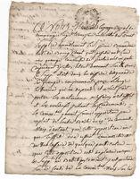 1752 Louis XV royal judge manuscript autograph document 4p DAMAGED handwritten