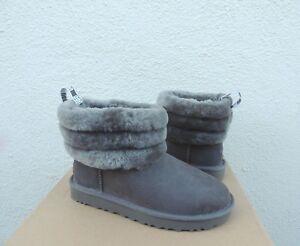 UGG CLASSIC FLUFF MINI QUILTED SUEDE/ SHEEPSKIN BOOTS, WOMEN US 10/ EUR 41 ~ NIB