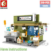 Sembo City Japan Street Kushikatsu Kushiage Restaurant Mini Blocks Building Shop