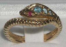 Echte Edelstein-Ringe aus Gelbgold mit Blautopas
