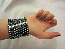Nine Strand Grey AB Faceted Glass Bead Clear Crystal Wide Stretch Bracelet
