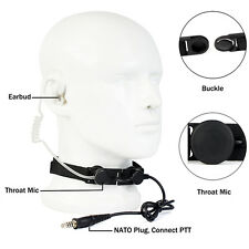Black Adjustable Tactical Throat Mic Air Acoustic Tube Earpiece for Outdoor CS