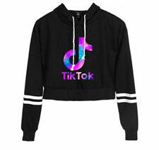 Womens Girls Tik Tok Top Cropped Hoodie Sweatshirt Long Sleeve Jumper Coat Hoody