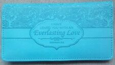 NEW Womens Christian EVERLASTING LOVE Teal Turquoise Lux Leather CHECKBOOK COVER