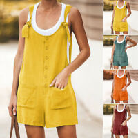 Womens Sleeveless Bib Pants Casual Loose Romper Shorts Button Overalls Jumpsuit