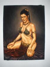 Star wars Princess Leia Slave Outfit black velvet oil painting handpainted art