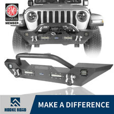Hooke Road Bull Bar Mid Front Bumper w/ LED Light for Jeep Wrangler JK JL 07-19