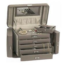 Mele & Co Large Mink Grey Bonded Leather Empress Jewellery Box MC757