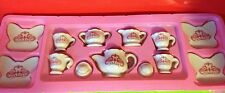 Vintage Ceramic Miniature Pink 13 Piece Butterfly Tea Set Collectible Gift