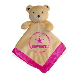 Dallas Cowboys Pink Baby Security Bear Blanket, NFL Officially Licensed 14X14