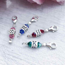Sterling Silver Initial and Birthstone Clip On Charm, Personalised Gift Idea