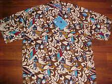 Holo Holo 100% Rayon Men Aloha Surfboards Floral Brown Hawaiian Shirt L New