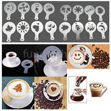 16pcs Coffee Cake Cupcake Template Decorating Stencil Mold Tool Cappuccino Latte