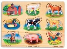 Kids Puzzle Baby Wooden Animal Numbers Alphabet Learning Toy - Melissa & Doug