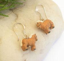 Horse & Western Jewellery Girls Palomino Pony Earrings Sterling Silver Hooks
