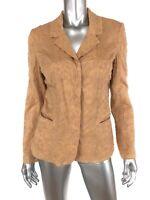 J Jill Womens Blazer Jacket Sz 10 Tall Tan Floral Embroidered Snap Front Cotton