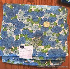 4 Yds Vintage Cotton Blend Fabric Blues & Greens Floral Grant's 5 & Dime Store