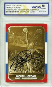 MICHAEL JORDAN 1998 Fleer GEMMT-10 23KT Gold 1986 AUTOGRAPHED ROOKIE CARD