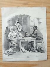 GRAVURE ANCIENNE JULES DAVID LITHOGRAPHIE FORMENTIN repas