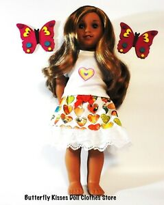 """Heart Print Lace Trim Skirt  & T Shirt Set 18"""" Doll Clothes Fit American Girl"""