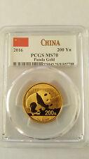 2016 200 Yuan China Gold Panda (15g) Pcgs Ms70 - China Flag Label