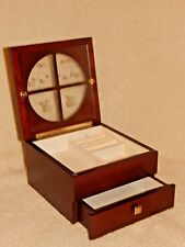 Dark Wooden Jewelry Box - Floral Etched Glass - One Drawer - Ring, Earring, etc.