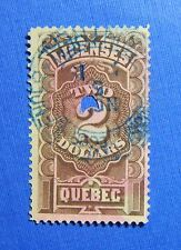 1889 $2.00 CANADA QUEBEC LICENSE REVENUE VD # QA16 B # 1 USED            CS32346