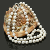 "2 row 8-9mm natural freshwater cultured white genuine pearl necklace 17""-18"" NEW"