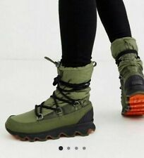 SOREL WATERPROOF KINETIC LACE UP BOOT IN GREEN AND BLACK SIZE EUR 37 WARM BOOTS