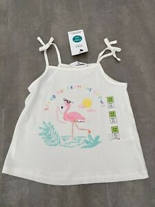M&S Girls Cream Flamingo Glitter Summer Vest Age 3-4 Years BNWT