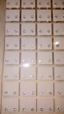 Joblot of 36 Pairs 3mm Cubic Zarconia clear colour Round stud Earrings wholesale
