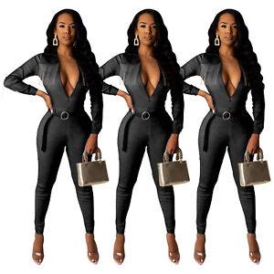 Fashion New Women Tassels Patchwork Long Sleeves Club Denim Jumpsuit with Belt