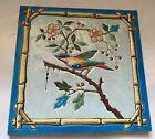 Beautiful rare Colored Bird cherry tree Art Nouveau Tile Jugendstil bamboo frame